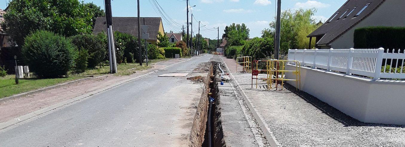 ECOMMOY, rue Garnier : Les travaux sont en cours