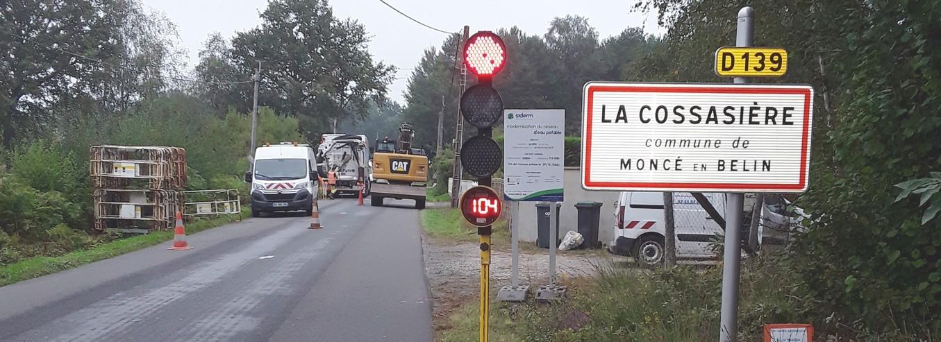 MONCE-EN-BELIN, RD139, La Cossassière : Les travaux sont en cours